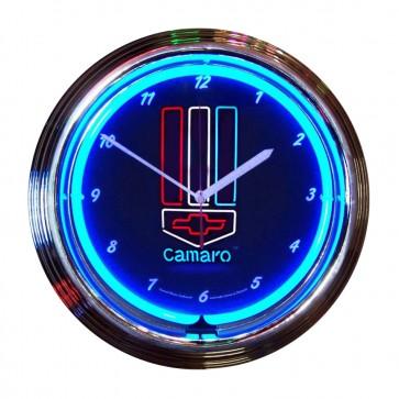 Camaro Red, White and Blue Neon Clock