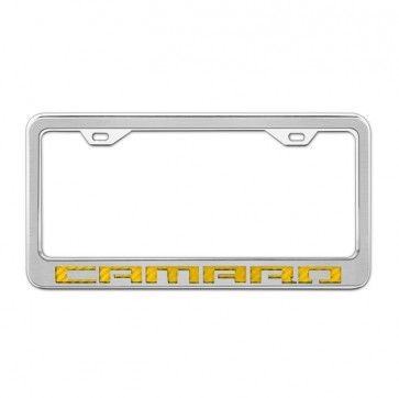 Stainless Steel/Carbon Fiber License Plate Frame - Camaro - Yellow