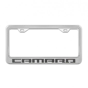 Stainless Steel/Carbon Fiber License Plate Frame - Camaro - Black