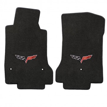 Corvette 2005-2007.5 2Pc Mats Ebony Velourtex C6 Logo