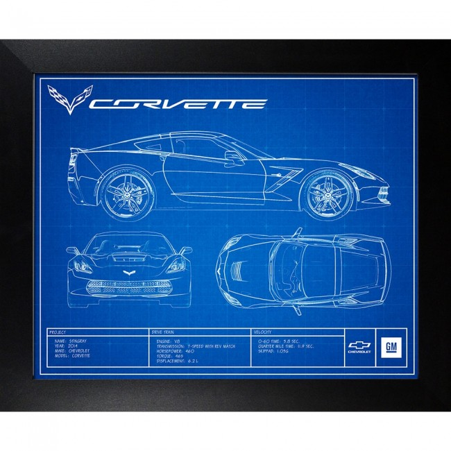 Corvette c7 blueprint framed artwork 19 x 23 malvernweather Image collections