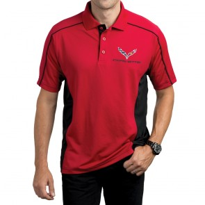 Stingray Performance Colorblock Polo - Red/Black