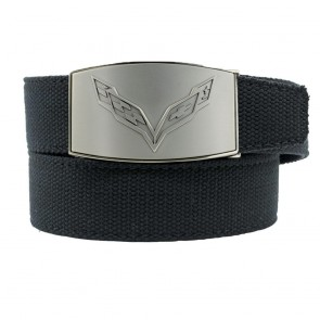 C7 Crossed Flags | Custom-Fit Canvas Belt | Pewter Finish Buckle
