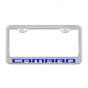Stainless Steel/Carbon Fiber License Plate Frame - Camaro - Blue