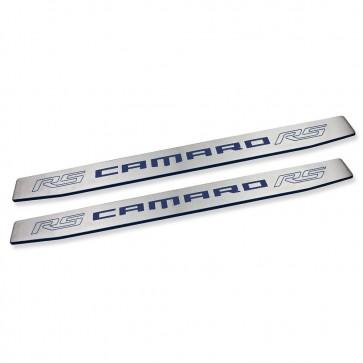 Camaro Gen 6 Door Sills - RS Logo - Blue Velvet