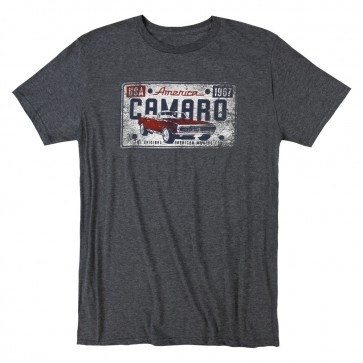 Camaro License Plate Tee | Heather Navy
