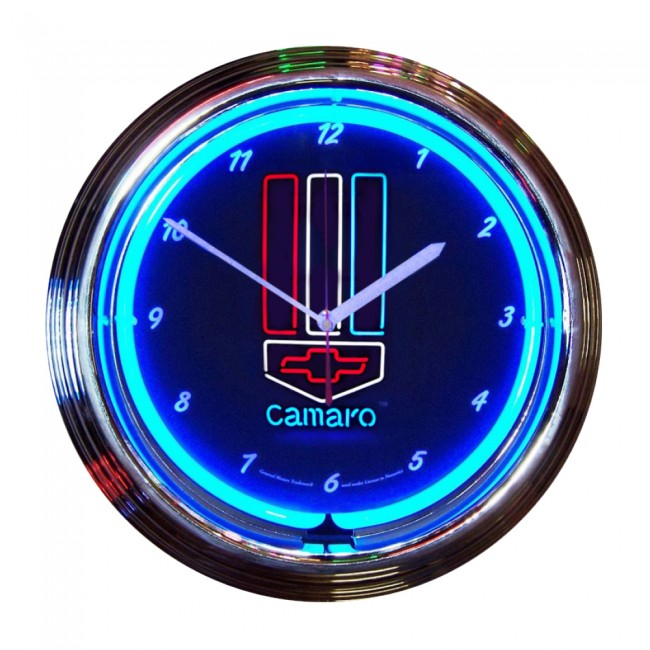 White And Blue Neon Clock Zoom