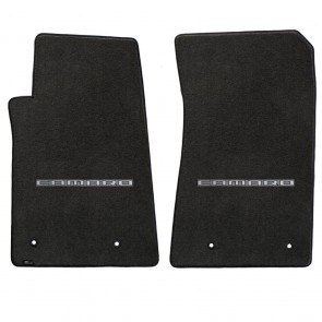 Camaro 2010-2015 2Pc Mats Ebony Velourtex Camaro Logo