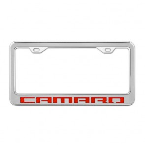 Stainless Steel/Carbon Fiber License Plate Frame - Camaro - Red