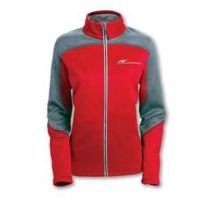 Camaro Ladies Full-Zip Jacket - Red-Heather Gray