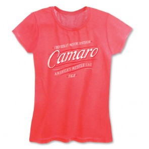 Ladies American Muscle Car Tee - Neon Pink