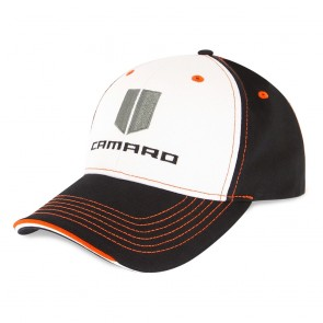 Camaro Hood Stripe Cap | Black/White/Orange