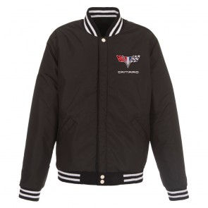Camaro Two-Way Varsity Jacket | Black/White