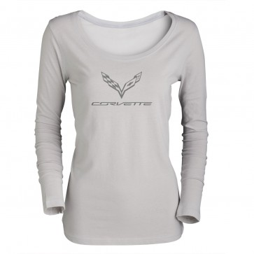 Ladies Long Sleeve Logo Tee | Silver