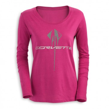Corvette Long Sleeve Glitter Tee - Raspberry