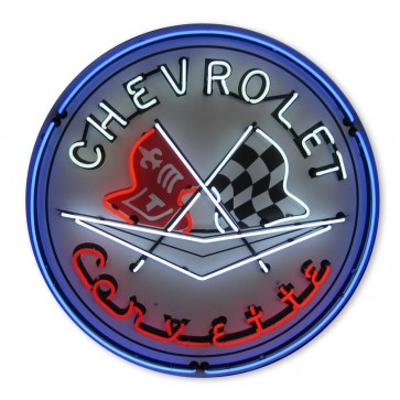 Corvette Flags Neon Sign with Blue Outer Ring