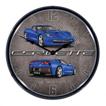 "Corvette C7 Stingray   14"" LED Backlit Clock   10 Color Options"