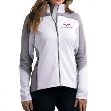 C6 Corvette Knit Jacket - White/Heather Gray