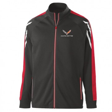 Corvette Tri-Color Jacket | Black Heather, Scarlet & White