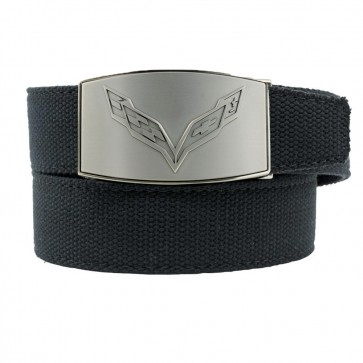 C7 Crossed Flags   Custom-Fit Canvas Belt   Pewter Finish Buckle