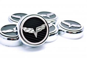 Corvette C6 Carbon Fiber Fluid Cap Cover Set (Manual)
