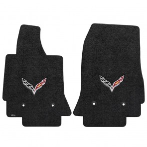 Corvette 2014-On 2Pc Mats Ebony Ultimat C7 Logo