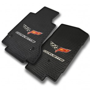 Corvette 2005-2007.5 2Pc Mats Black Signature Rubber With C6 Logo