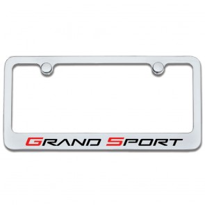 Corvette Grand Sport License Plate Frame - Chrome