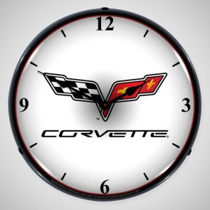 Custom Corvette C6 Cross Flag Lighted Clock