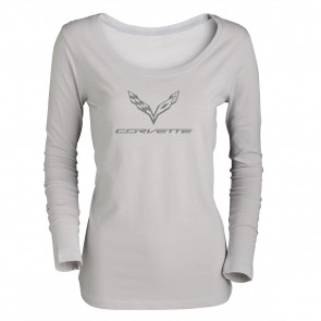 Ladies Long Sleeve Logo Tee - Silver