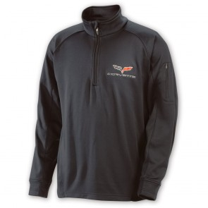 Corvette C6 Quarter Zip Pullover - Black