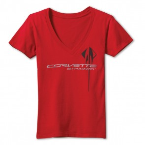 Stingray Overlay V-Neck Tee - Red