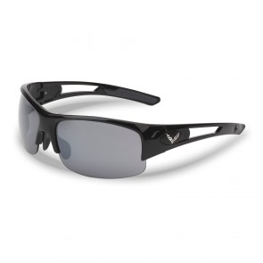 C7 Crossed Flags Gloss Black Rimless Sunglasses
