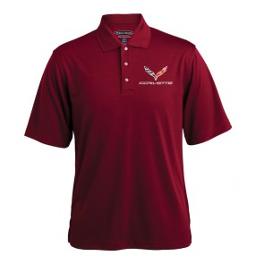 C7 Texture Polo - Deep Red