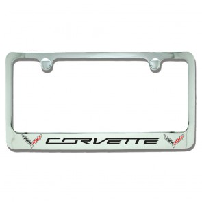 C7 Double Logo License Plate Frame - Chrome