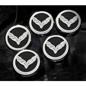 Corvette Stingray Carbon Fiber Fluid Cap Cover Set (Automatic)